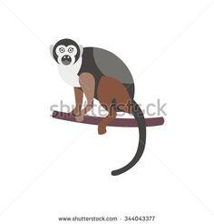 Cute monkey icon, logo, symbol. Vector illustration isolated on a background.