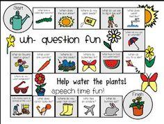 Wh Question Board Game: SPRING ((Freebie)) - Speech Time Fun