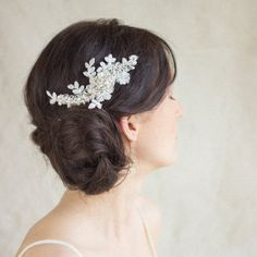 Spitze Haircomb Hochzeit Braut Haare kämmen Ivory von LeFlowers, $76.00