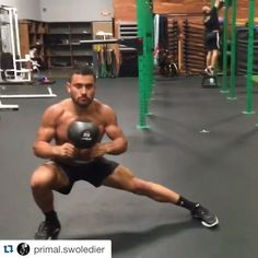 Try out this heavy kettlebell superset by @primal.swoledier! Halo to lateral squat X 5 reps each side and deadlift to sit through X 5…