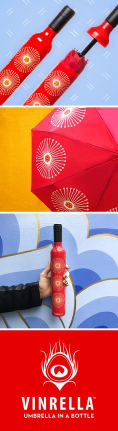 Discover the most fashionable, functional and fun way to stay dry. Pictured here is the Flora Wine Bottle Umbrella by Vinrella. Unique no-drip design seals your wet umbrella away in a bottle to protect your purse or briefcase. Our fashionable, stylish, and fun designs brighten up rainy days or provide shade on sunny days. This cool vibrant red designer umbrella stands out in any crowd! Our cool umbrellas are the perfect gift for any occasion. See more at https://vinrella.com/.