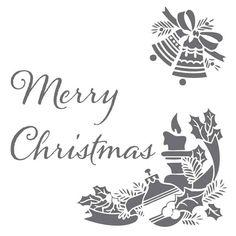 Merry Christmas on 6x6 laser cut stencil por PearlDesignStudio