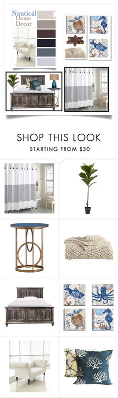 """""""Nautical Home Design"""" by doragutierrez ❤ liked on Polyvore featuring interior, interiors, interior design, home, home decor, interior decorating, Peri, Gabby, DKNY and Neiman Marcus"""