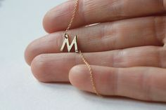 Custom Initial Necklace, 14k gold Letter  from Capucinne by DaWanda.com