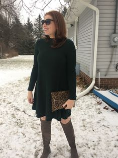 Holiday look 4 Green Dress Swing dress Dressy looks Fashion over 40