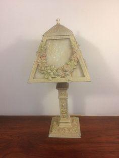 Antique Boudoir Table Lamp Art Nouveau Deco Slag Cast Ronson Roses Floral
