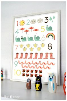Poster zum Zählen lernen, Einschulung / artprint, learn how to count, first day of school by sware shop via DaWanda.com