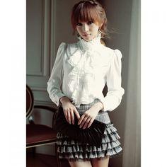 Elegant Palace Style Stand Collar Flouncing Embellished Long Sleeve Chiffon Women's Shirt
