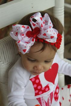 Valentines Day Bow  double white satin by DarlingLittleBowShop, $7.95