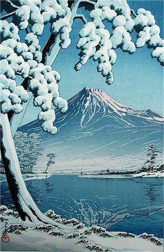 """ Mont Fuji "" Kawase Hasui - via artlad Japan Illustration, Monte Fuji, Japanese Woodcut, Art Chinois, Art Asiatique, Art Japonais, Japanese Painting, Japan Art, Japan Japan"