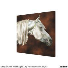 Gray Arabian Horse Equine Art Portrait Print