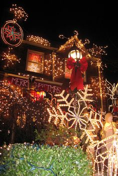 "Every year the residents of the largely Italian-American Dyker Heights, in the southwest corner of Brooklyn, convert their front porches and yards into extravagant Christmas light displays.  The ""miracle mile"" of outer borough Christmas lights can be found on 84th Street between 10th and 12th Avenues.  Each year, as many as 100,000 visitors trek along to the Heights to see everything from large-scale Disney balloons to neon-lit manger scenes to mall Santas to a monumental Santa and toy…"