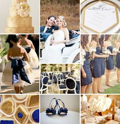 Gold and Navy Blue Inspiration Board #Wedding #inspiration #gold #navy