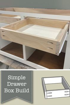 These are the exact plans I use to this day to make drawer boxes for all of my commissioned furniture pieces because when you're able to make something quickly and easily that is solid and looks great, why would you ever change it? Home Office Decor, Diy Home Decor, Office Ideas, Diy Wood Projects, Home Projects, Rustic Buffet Tables, How To Make Drawers, A Simple Plan, Wood Pallets