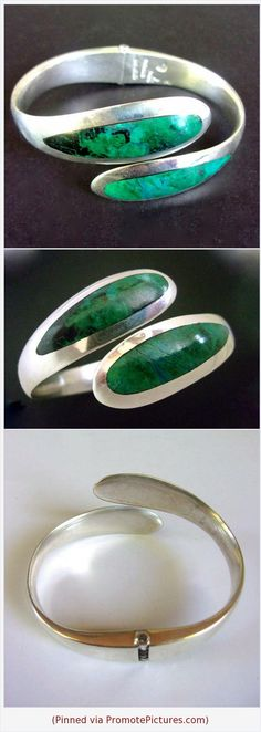 Chrysocolla Sterling Silver Hinged Bracelet Green SERGIO Bypass, Mexico, Vintage #bracelet #sterlingsilver #chrysocolla #green #bypass #vintage #hinged #gemstone #sergio https://www.etsy.com/RenaissanceFair/listing/599061265/chrysocolla-sterling-silver-hinged?ref=listings_manager_grid (Pinned using https://PromotePictures.com)