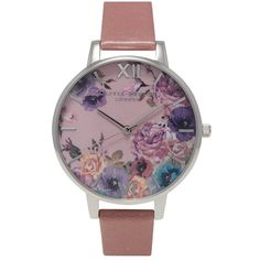 Olivia Burton Enchanted Garden Watch - Rose & Silver ($125) ❤ liked on Polyvore