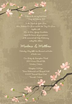 Cherry Blossom Inspired Invites by Designs of Perfection. www.weddingshows.com