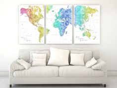 custom quote highly detailed world map poster split in 3 panels colorful rainbow watercolor map with cities color combination maxwell