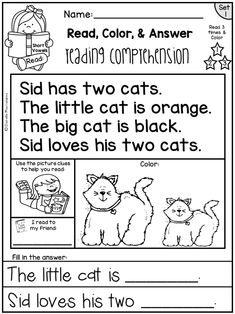 Reading Comprehension Passages for Kindergarten and First Grade. The perfect passages for beginning readers! Informations About Reading Comprehension Passages - Read, Color & Answer Set 1 Page FREE Reading Comprehension Activities, Phonics Reading, Reading Worksheets, Reading Passages, Kindergarten Reading, Kindergarten Worksheets, Teaching Reading, Learning, Math Literacy