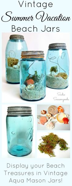 Create gorgeous DIY coastal decor by filling vintage (or new) aqua mason jars…