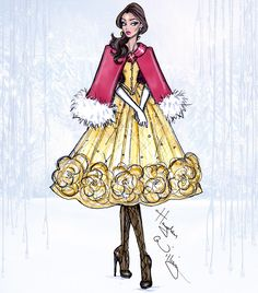 Disney Divas by Hayden Williams Fashion Illustrations (Belle).  [For more Disney news, tips, secrets, facts, pics and more, please visit my Disney blog:  http://grown-up-disney-kid.tumblr.com/ ]