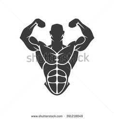 Bodybuilder Logo Template. Vector object and Icons for Sport Label, Gym Badge, Fitness Logo Design, Emblem Graphics.Sport Symbol, Exercise Logo, Woman Holding Weight Silhouette. - stock vector