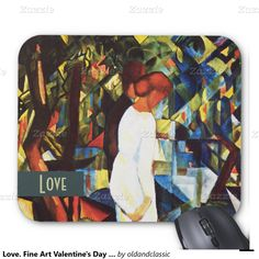 "Love. Fine Art Valentine's Day Gift Mousepads. Valentine's Day Gift Mousepad. Artist: August Macke.""Couple in the Woods"", Oil Painting, circa 1912. Matching cards, postage stamps and other products available in the Holidays / Valentine's Day Category of the oldandclassic store at zazzle.com"