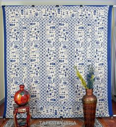 Indian Tapestry Blue African Native Wall Hanging Cotton Double Decor Bed Sheet #IndianTapestry