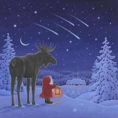 Tomte watching a meteor shower with a moose Christmas Scenes, Christmas Gnome, Christmas Pictures, Christmas Projects, Swedish Christmas, Blue Christmas, Vintage Christmas, Christmas Drawing, Christmas Illustration