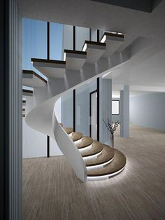 Types of stairs - Production of concrete stairs . - Types of stairs – Production of concrete stairs in Kiev and Ukraine Floating Staircase, Small Staircase, Spiral Staircase, Home Stairs Design, Modern House Design, Diy Interior, Home Interior Design, Stairs Architecture, Interior Architecture