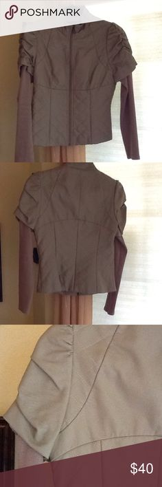Forever 21 faux leather jacket. Super cute Forever 21 jacket. Faux leather.  Great details. Rustic metal zipper. Quilted waist shoulder and neckline. Gathered at shoulder over sweater sleeves. Fully lined Close feminine fit. Never used. Forever 21 Jackets & Coats