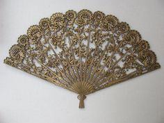 Vintage Burwood Wall Hanging / Sensu / Hand Fan / Gold Ornate