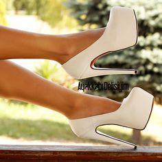 Eva Beyaz Topuklu Gelin Ayakkabısı #wedding #shoes