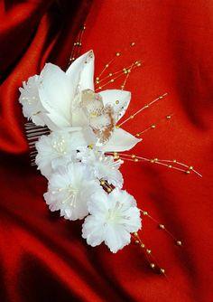 BRIDAL HAIR FLOWER Hawaiian White Orchid Tropical by MalamaPua, $37.99