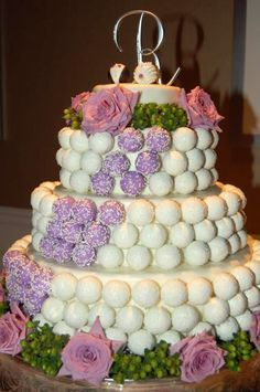 "A ""Cake Pop"" Cake is a twist on the traditional wedding cake. Guests at this wedding could pluck one or two ""Cake Pops"" at their leisure. Need more servings, the cake stand for the pops can be real so that slices of cake can be served later."