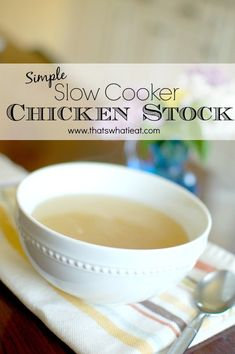 Simple Slow Cooker Chicken Stock Simple Slow Cooker Chicken Stock - Also called bone broth is so nourishing! It is also dirt cheap and super simple why are you not making your own yet? Real Food Recipes, Healthy Recipes, Healthy Food, Duck Recipes, Healthy Habits, Yummy Recipes, Free Recipes, Food Plus, Dirt Cheap