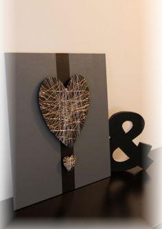 Noël : Cadre toile décoration murale coeur moderne fil de fer - idée cadeau noel