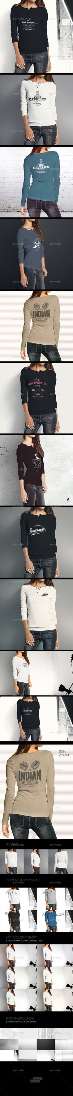 Woman Longsleeve Shirt Mockup — Photoshop PSD #shirt #mock up • Available here → https://graphicriver.net/item/woman-longsleeve-shirt-mockup/9610673?ref=pxcr