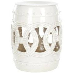 Safavieh Paradise Double Coin White Ceramic Garden Stool | Overstock.com Shopping - Great Deals on Safavieh Garden Accents