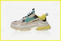 Balenciaga Triple S Khaki Yellow Green Nike Sneakers Vintage Sneaker Sneakers N Stuff, Sneakers For Sale, Running Sneakers, Running Shoes For Men, Sneakers Fashion, Lacoste Sneakers, Sneakers Design, Yellow Sneakers, T Shirts
