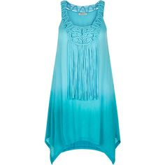 Monsoon Nalani Dip Dye Fringe Dress ($34) ❤ liked on Polyvore featuring dresses, dip dyed dress, beach dress, dip dye dress, blue embellished dress and embellished dresses