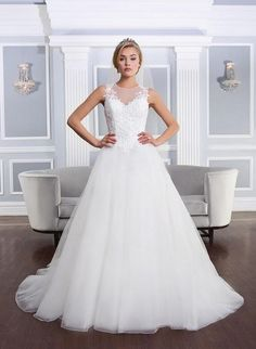 682edaaae270 2015 New Classical White Wedding Dresses Bridal Gowns With Crew A Line  Sheer Neckline Full Lace Top Organza Appliques 2017-in Wedding Dresses from  Weddings ...