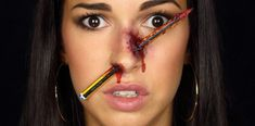 Pencil through the nose mak. Nose Makeup, Halloween 2017, Halloween Face Makeup, Pencil, Make Up, Costume, Painting, Ideas, Cross Stitch