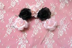 Odette- Silk pink and black pastel goth roses flower crown with silver spikes (Lana Del Rey Nu Goth Goth Kawaii Festival Anime Wedding)