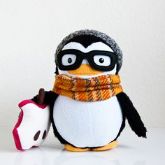 handmade Hipster Niko the Penguin soft sculpture softie plush doll