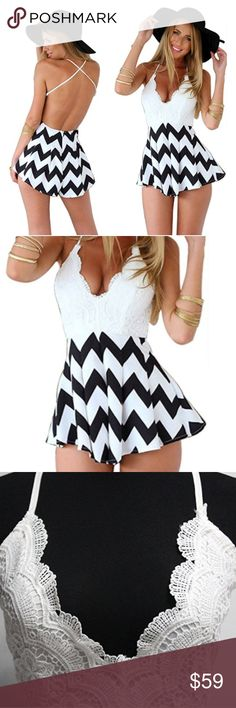 *NEW* Lace Black & White Chevron Backless Romper New lace black & white chevron romper with deep v-neck lace top  Backless and straps are adjustable!  Polyester  *Please allow 3-5 business days for shipping Pants Jumpsuits & Rompers