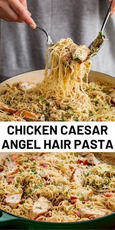 Best Chicken Caesar Angel Hair Pasta We used a whole bottle of Caesar dressing in this sauce and have no regrets. With bacon, lemon juice, Parmesan, and LOTS of black pepper, it's ridiculously good. Italian Recipes, New Recipes, Cooking Recipes, Favorite Recipes, Healthy Recipes, Recipies, Healthy Food, Pot Pasta, Pasta Dishes