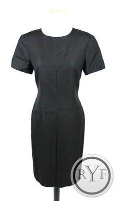 Career Talbots Black Linen Blend Short Sleeve Knee Length Sheath Dress M 6 | eBay