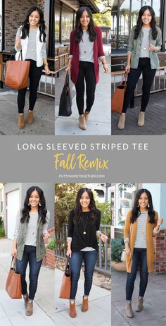 Fall Outfits With a Striped Tee You Can Wear Over and Over : Long Sleeved Striped Tee Outfits Fall Winter Outfits, Autumn Winter Fashion, Women Fall Outfits, Early Fall Outfits, Summer Outfits, Casual Work Outfits, Cute Outfits, Everyday Casual Outfits, Professional Outfits