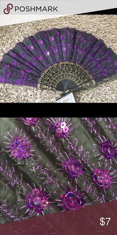 Deluxe sequin foldable fan (Royal Purple) Deluxe foldable fans for sale. Have an event, performance, wedding, or concert coming up? Want to give a wonderful gift? Do you like beautiful things? Whether these are props or practical accessories to beat the heat, you are guaranteed to find a style that suits you best! Choose from 12 different varieties which are all listed, would look great mixed and matched. 1 for $7 or 2 for $12. Thank you for looking! Please check out my other listings…